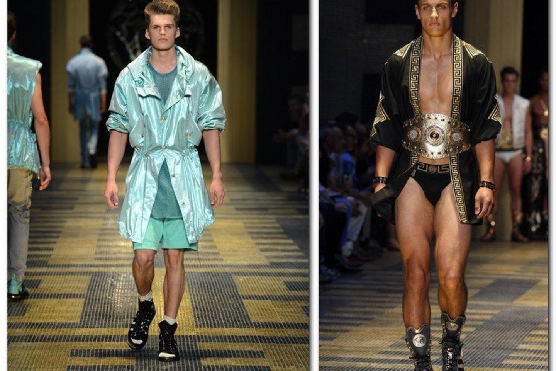 """Lukas (kairėje) ir Mantas pristatė """"Versace"""" kolekciją.<br>AP"""