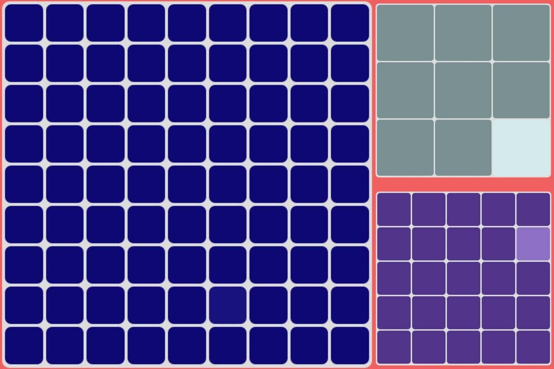 Iš pradžių kvadratai būna dideli ir atspalviai aiškiai skiriasi, o pasiekus aukščiausią lygį ekrane matomas 81 kvadratas.
