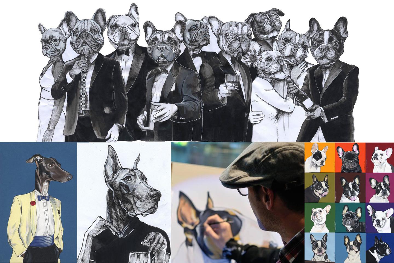 Berlyniečio J.Teuneno darbuose šunys vaizduojami tarsi žmonės: šmaikštūs, liūdni, susimąstę, kartais – nepadorūs.<br>Asmeninio J. Teunen (blackspecs.de) archyvo nuotr.