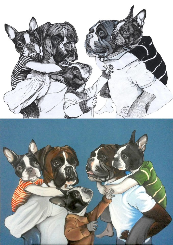 Dailininkas J. Teunenas nutolsta nuo tradicinio šuns vaizdavimo, parodo išgalvotą, bet linksmą ir šiuolaikišką jų gyvenimo būdą.<br>J. Teunen (blackspecs.de) nuotr.