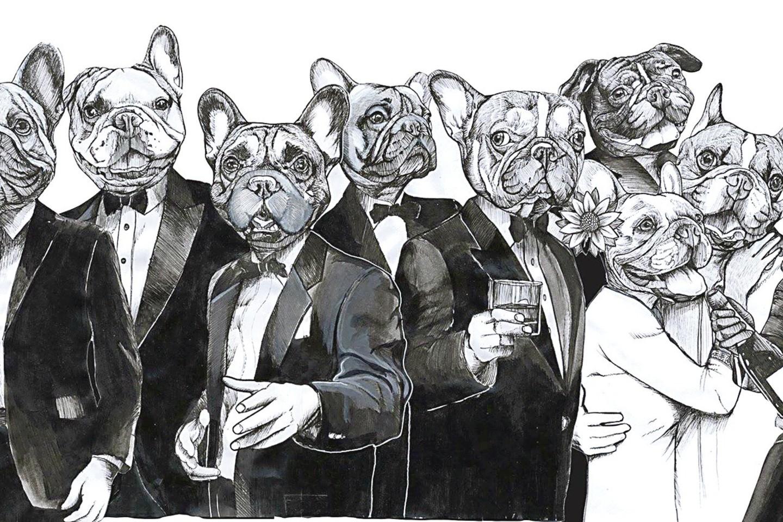 """Berlyniečio J.Teuneno darbuose šunys vaizduojami tarsi žmonės: šmaikštūs, liūdni, susimąstę, kartais – nepadorūs.<br>J.Teuneno (""""Blackspecs.de"""") nuotr."""