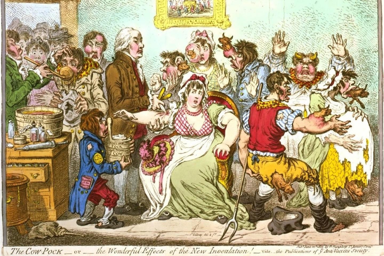Karikatūra, pašiepianti vakcinavimą ir gąsdinanti galimomis pasekmėmis.<br>JAV Kongreso bibliotekos nuotr.