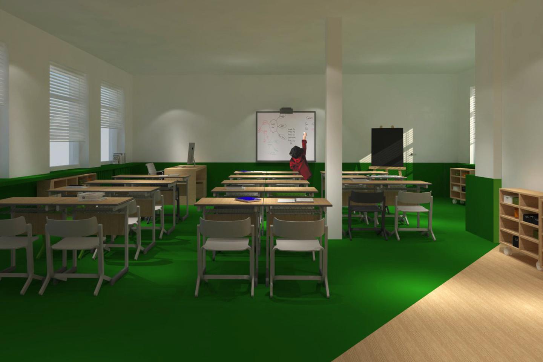 E.Stankevičiūtė Righetto ir I.Valskytė pe porą mėnesių parengė rekonstrukcijos planus trims Kauno pradinėms mokykloms.<br>vizualizacija