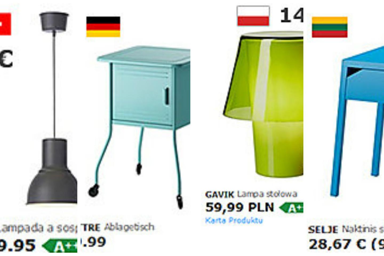 """Lietuvė jau antrus metus stebi tų pačių """"Ikea"""" prekių kainas Lietuvoje, Vokietijoje, Lenkijoje ir Šveicarijoje."""