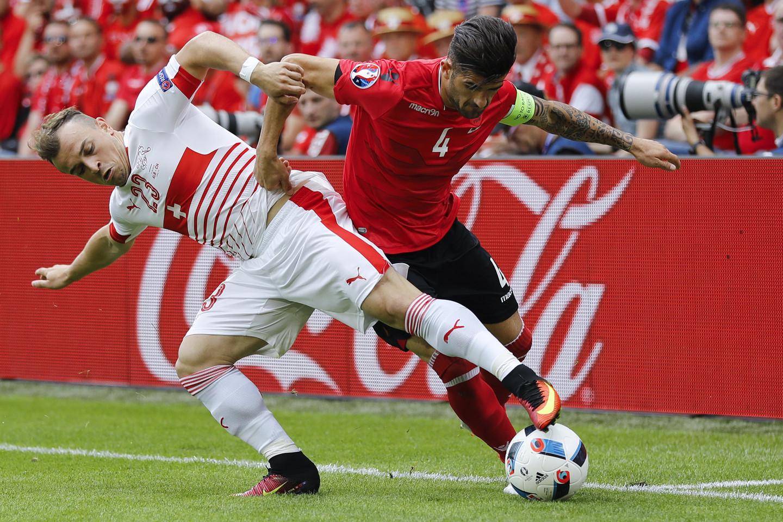 Šveicarijos ir Albanijos rinktinių rungtynės.<br>AP nuotr.