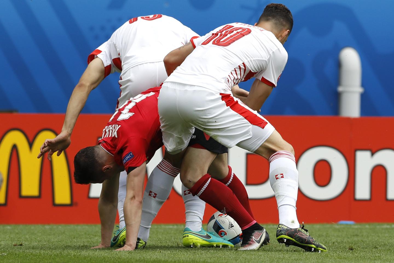 Albanijos ir Šveicarijos rungtynės.<br>AP nuotr.