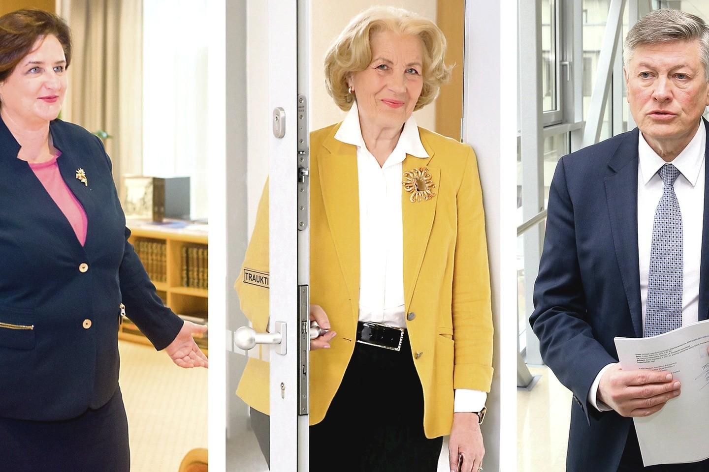Ilgai parlamente buvę (iš kairės) L.Graužinienė, D.Teišerskytė ir A.Paulauskas skirtingai reagavo į jiems negailestingą rinkėjų nuosprendį praėjusį sekmadienį.<br>J.Stacevičiaus, R.Danisevičiaus nuotr.