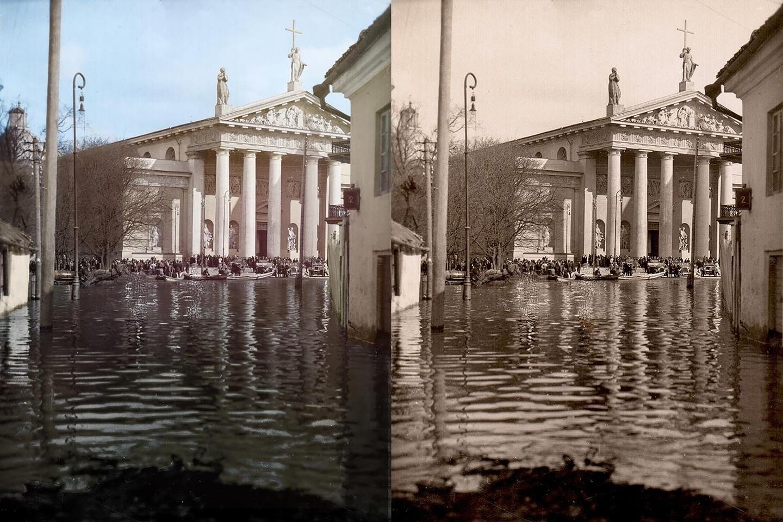 Potvynis Vilniuje atvėrė požemių paslaptis. 1931 m.<br>www.simtmeciospalvos.lt nuotr.