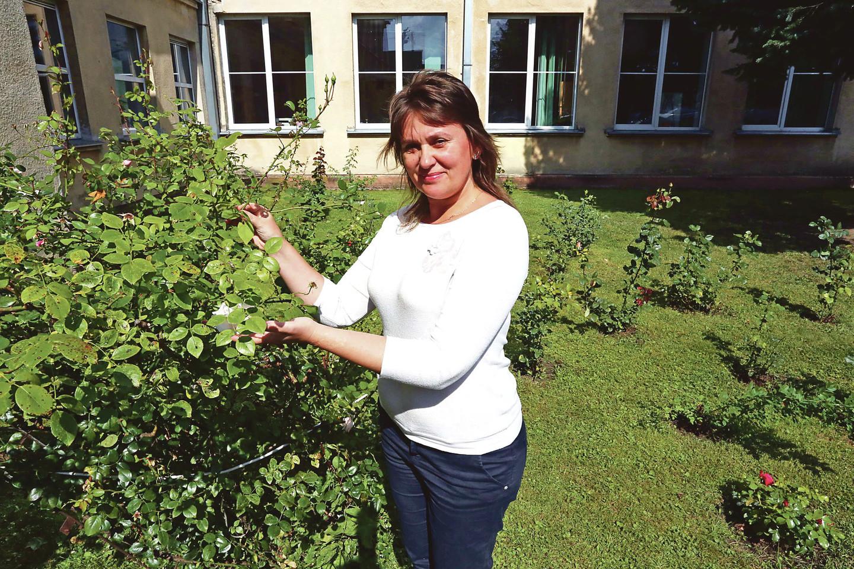Prie Veršvų gimnazijos sodinti rožes mokinius skatina istorikė D.Murauskienė.<br>M.Patašiaus nuotr.