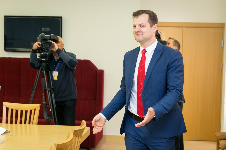 Socialdemokratų frakcija Seime susitiko su partijos pirmininku G.Palucku.<br>T.Bauro nuotr.