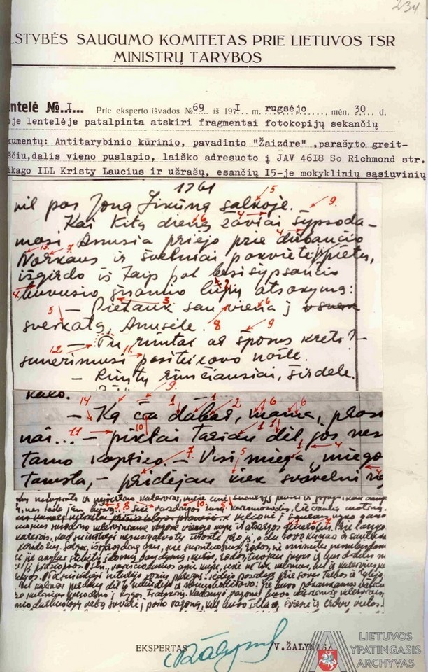 J.Laucės rašysenos ekspertizės lentelė. 1971 m. rugsėjo 30 d.<br>Lietuvos ypatingojo archyvo nuotr.