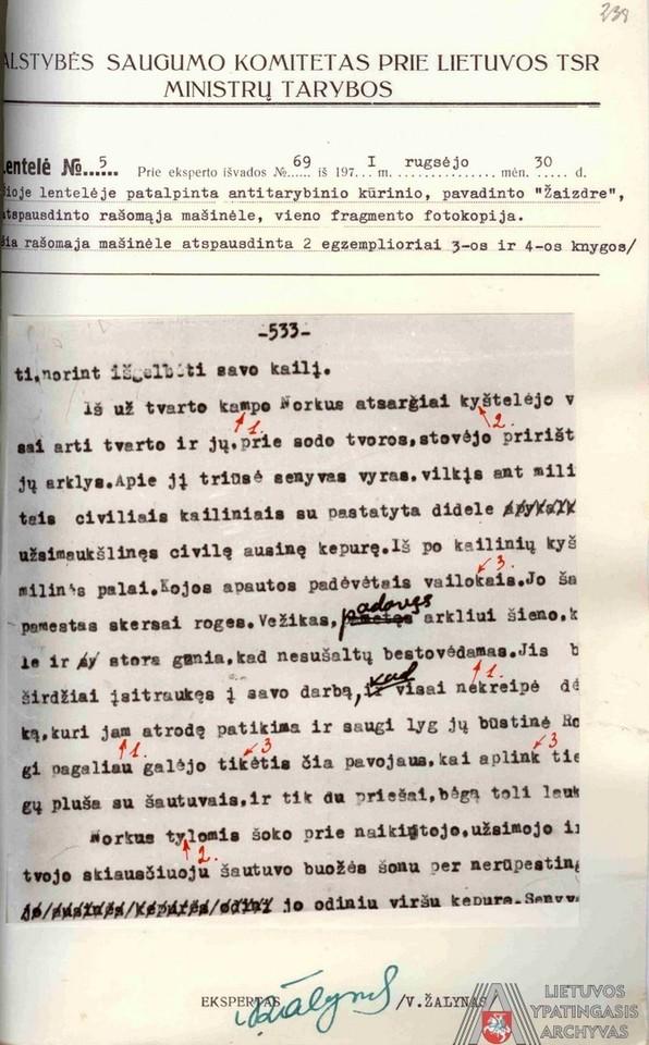 """Rašomosios mašinėlės, kuria buvo atspausdintas romano """"Žaizdre"""" mašinraštis, šrifto ekspertizės lentelė. 1971 m. rugsėjo 30 d.<br>Lietuvos ypatingojo archyvo nuotr."""