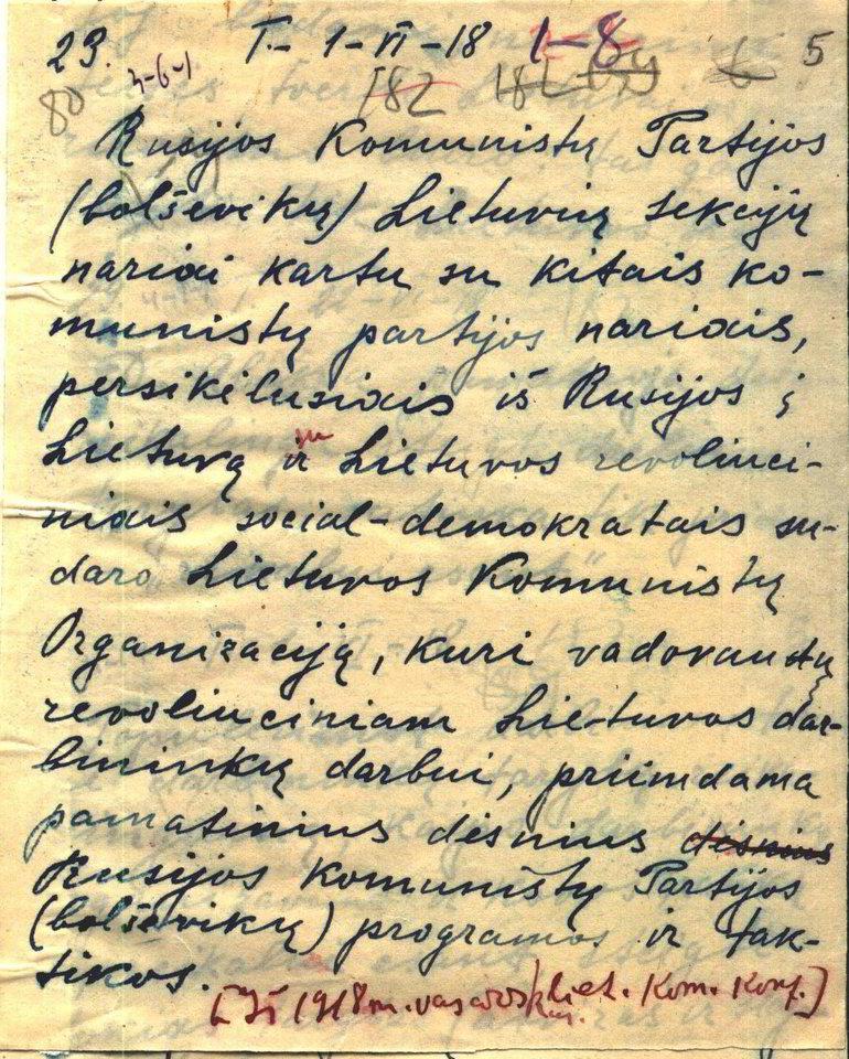 Ištrauka iš Rusijos komunistų partijos (bolševikų) (RKP(b)) lietuvių sekcijų 1918 m. gegužės 26–27 d. konferencijos nutarimo apie komunistų organizacijos sukūrimą Lietuvoje.<br>Lietuvos ypatingojo archyvo nuotr.
