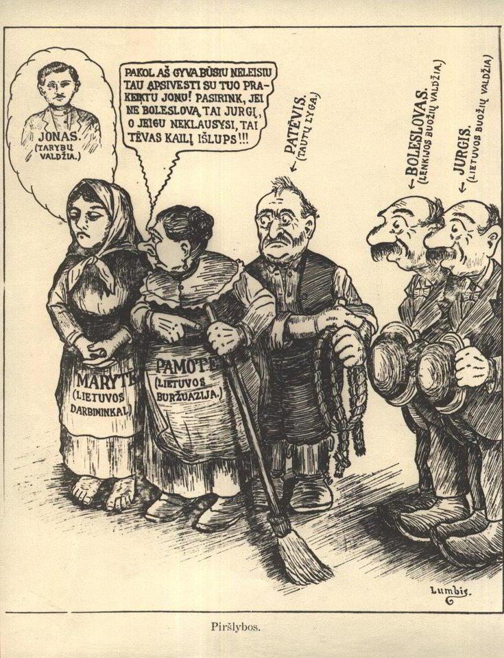 """Komunistų agitacinis piešinys """"Piršlybos"""". 1918 m.<br>Lietuvos ypatingojo archyvo nuotr."""
