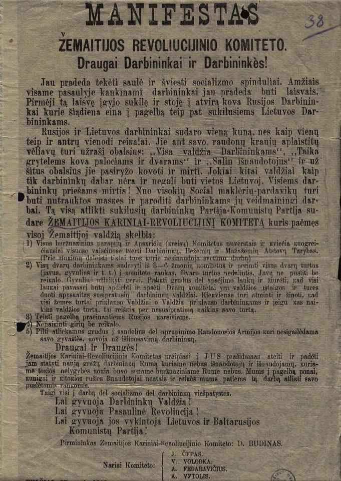 Žemaitijos karinio-revoliucinio komiteto 1919 m. sausio 27 d. manifestas.<br>Lietuvos ypatingojo archyvo nuotr.