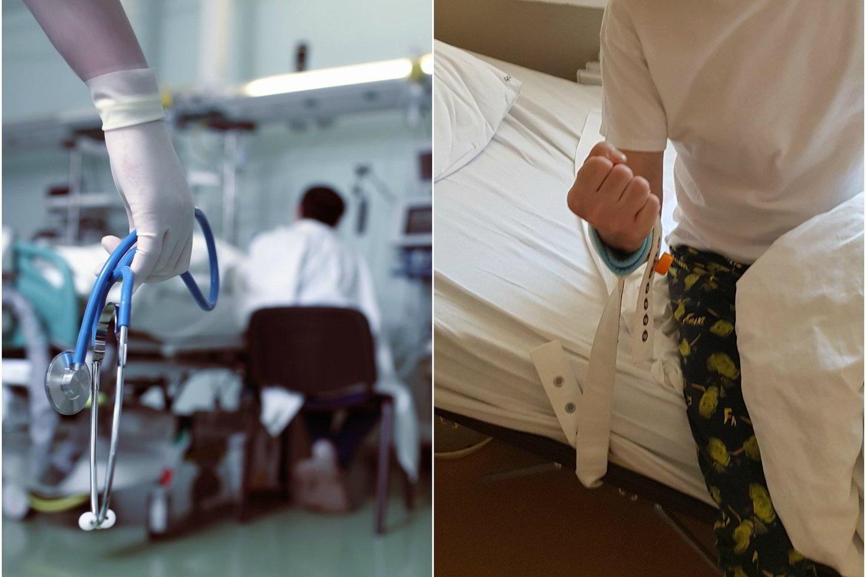 Paciento rankos buvo rišamos prie lovos, o pasipriešinus šiai tvarkai, jis buvo perkeltas į psichiatrijos skyrių.<br>123rf.com ir skaitytojo nuotr.
