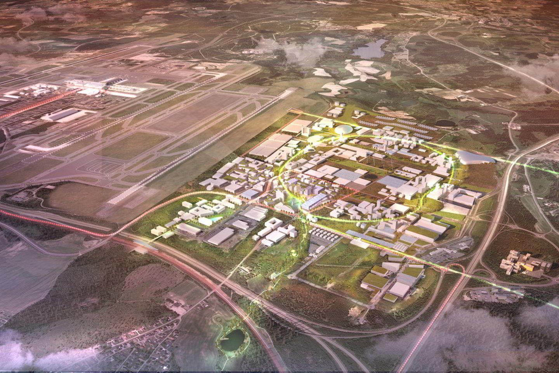Visa šiam oro uostui reikalinga energija bus gaunama iš atsinaujinančių šaltinių.<br>Forbes Massie/archdaily.com vizualizacija
