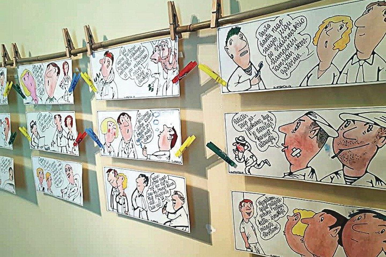 """J.Varnas karikatūrų parodoje """"3 x 100"""", surengtoje Rokiškio krašto muziejuje, pakabino net 300 savo kūrinių.<br> Nuotr. iš asmeninio archyvo"""