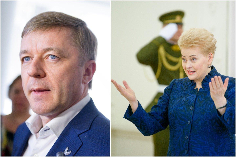 """Politologas Virgis Valentinavičius akcentuoja, kad """"valstiečių"""" lyderis ir prezidentė nėra tos pačios politinės lygos žaidėjai, tad R. Karbauskiui konfliktas su šalies vadove gali būti pražūtingas."""