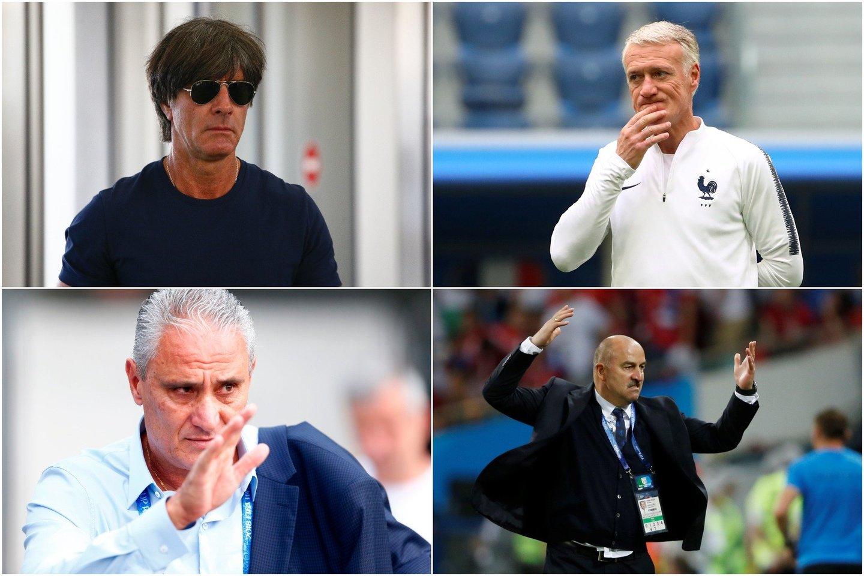 Joachimas Loewas, Didier Deschamps'as, Tite ir Stanislavas Čerčesovas – daugiausiai uždirbantys treneriai.<br>Reuters/Scanpix nuotr.