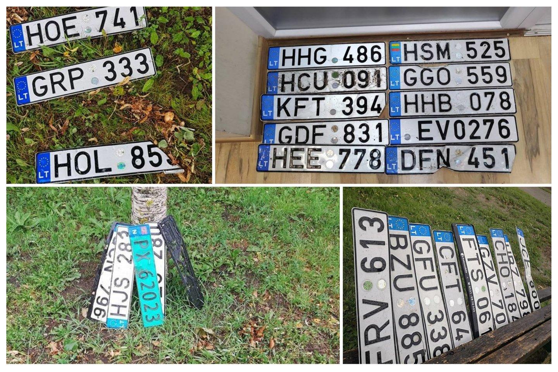 Patvinusiose gatvėse šiauliečiai nuo automobilių nusiplėšė keliasdešimt valstybinės registracijos numerių.<br>Socialinių tinklų nuotr. koliažas