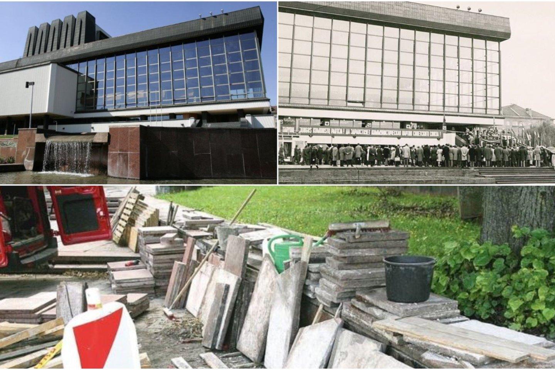 Lietuvos nacionalinio operos ir baleto teatro prieigose lupamos raudono granito plokštės, o vietoj jų tvirtinamos rausvos betoninės.