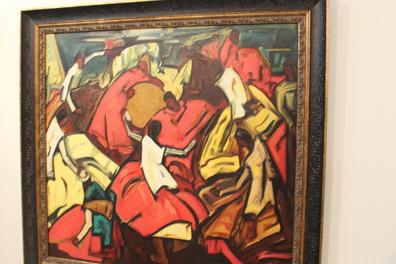 """Aukcione brangiausiai buvo nupirktas Jono Rimšos kūrinys """"Indėnų šventė"""". Pirkėjas už jį sumokėjo pradinę kainą – 17,5 tūkst. eurų.<br>A.Ziabkaus nuotr."""