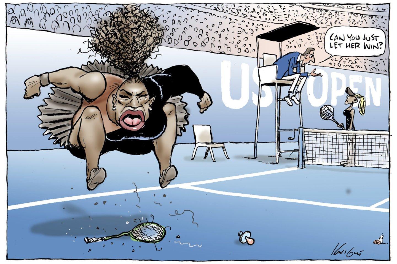 """""""Herald Sun"""" dar kartą išspausdino S.Williams karikatūrą.<br>AFP/Scanpix nuotr."""
