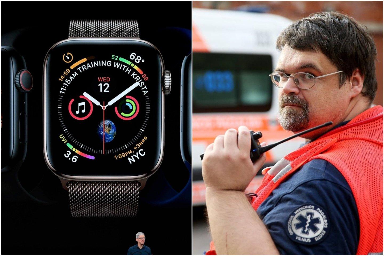 """Greitosios pagalbos medikas G.Vaišnoras netiki, kad""""Apple Watch Series 4"""" leis užfiksuoti pakankamai informatyvią elektrokardiogramą.<br>SIPA press / Scanpix / Ramūno Danisevičiaus nuotr."""