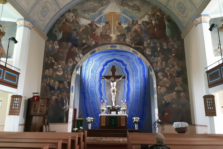 Šilutės evangelikų liuteronų bažnyčios freska išliko autentiška per visas karo audras.<br>D.Jonušienės nuotr.