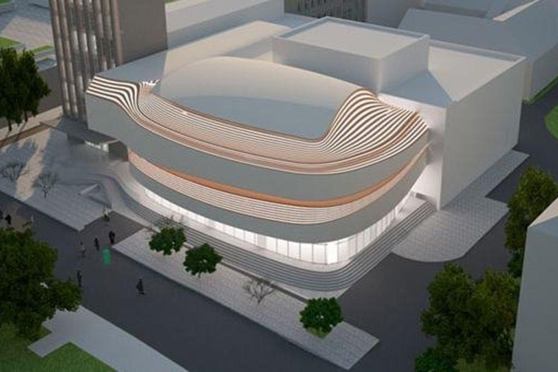 Taip atrodys rekonstruotas muzikinis teatras.<br>Projektuotojų vizualizacija.