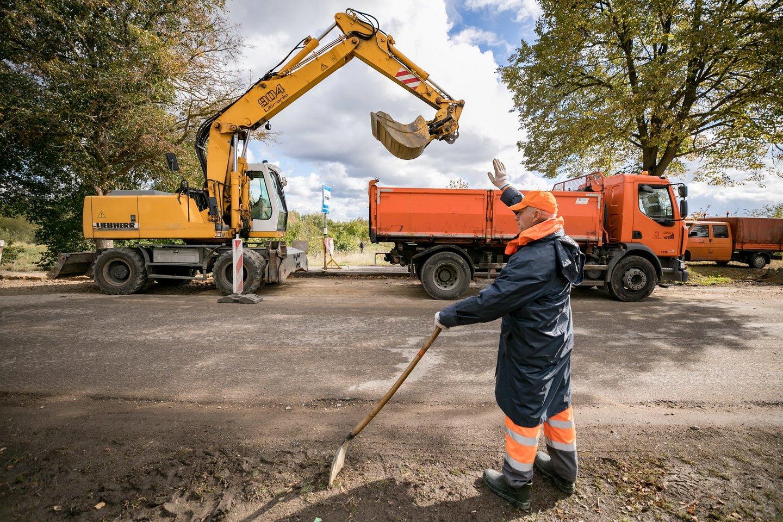 Vilniuje remontuojama Lentvario gatvė.<br>S.Žiūros nuotr.