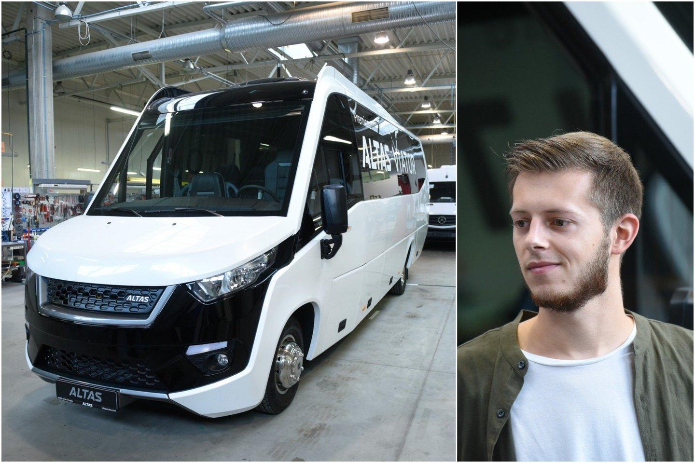 Originalią lietuviško autobuso išvaizdą sumanė jaunas dizaineris Dominykas Budimas.
