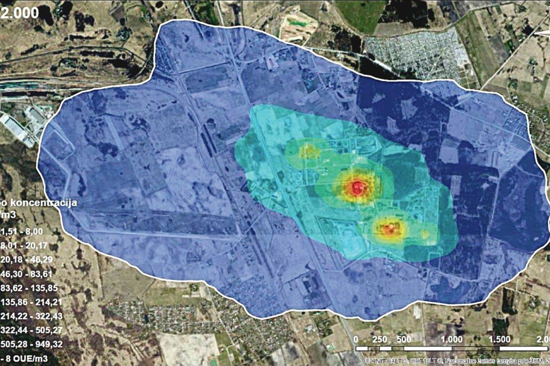 Pietinio Klaipėdos priemiesčio žemėlapyje pažymėti oro teršimo židiniai ir jų skleidžiamo dvoko teritorija.