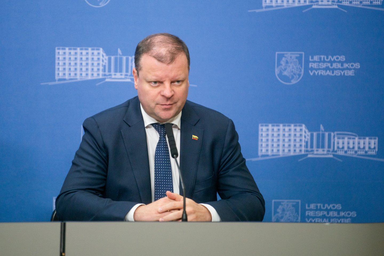 Saulius Skvernelis pirmadienį surengė spaudos konferenciją.<br>J.Stacevičiaus nuotr.