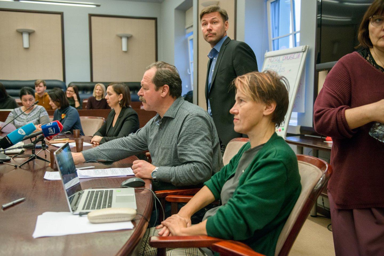 Švietimo ir mokslo ministerijoje mokytojai streikuoja jau pusantros savaitės.<br>J.Stacevičiaus nuotr.