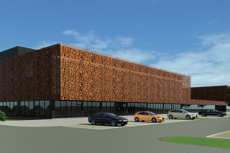 Taip atrodytų Šilutėje pastatytas naujas daugiafunkcis sporto kompleksas su plaukimo baseinu.<br>Projektuotojų vizualizacija.