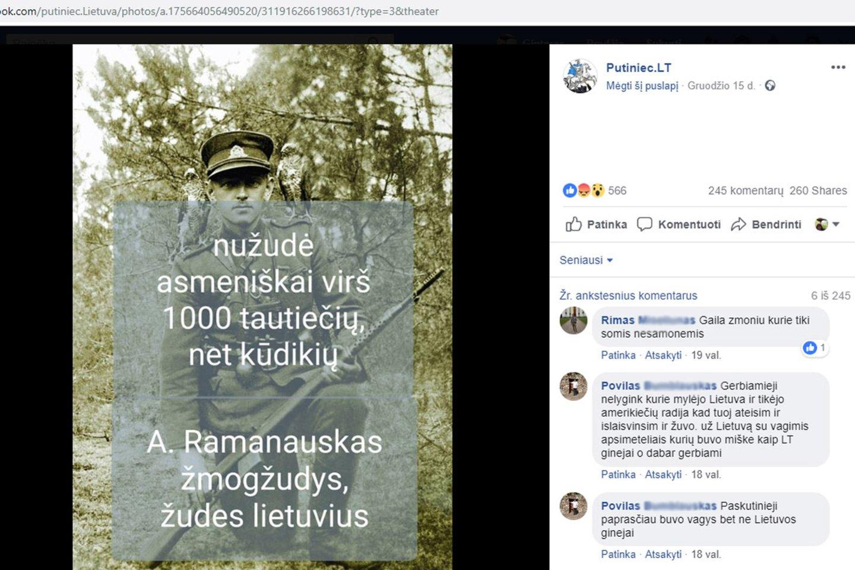 Prorusiški veikėjai socialiniuose tinkluose platina šmeižikišką informaciją apie gyvybę už Lietuvą paaukojusį partizanų vadą A.Ramanauską - Vanagą.