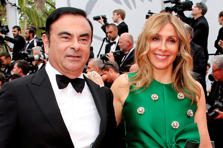 C.Ghosnas su žmona Carole.<br>Reuters/Scanpix nuotr.