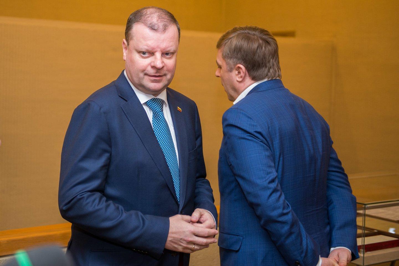 Premjeras Saulius Skvernelis antradienį įvertino jo ir šalies vadovės Dalios Grybauskaitės santykius.<br>J.Stacevičiaus nuotr.