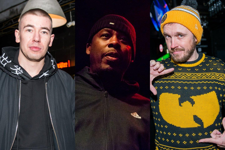 Konstantinas Kiveris-Lilas, GZA ir Artūras Matkevičius-DJ Mamania.<br>J.Stacevičiaus nuotr.