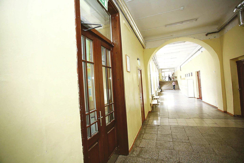 Progimnazijoje galima prisiliesti prie autentiškų medinių restauruotų durų.<br>M.Patašiaus nuotr.