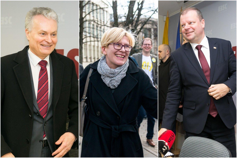 G.Nausėda, I.Šimonytė ir S.Skvernelis prezidento rinkimų reitinguose užima pirmąsias tris vietas.<br>lrytas.lt montažas.