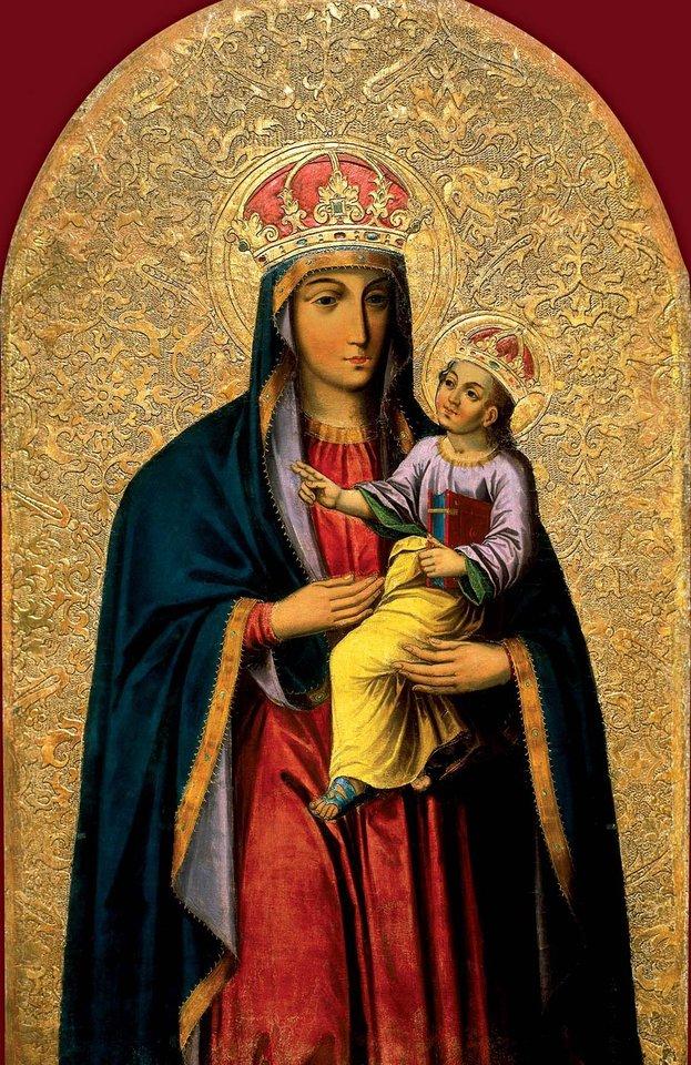 """Vienas gražiausių ir vertingiausių Dievo motinos atvaizdų–XVII a. pradžios Tytuvėnų Švč. Mergelės Marijos bažnyčios didžiojo altoriaus paveikslas """"Švč. Mergelė Marija su kūdikiu"""".<br>Archyvo nuotr."""