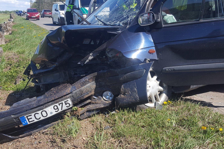"""Žalgirių kaime neblaivus """"Renault Espace"""" vairuotojas sukėlė avariją.<br>lrytas.lt nuotr."""