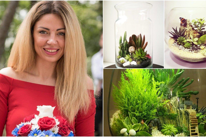 Anot M.Azulevičiūtės, tinkamai paruoštame florariume galima auginti bet kokius augalus, netgi pelkių arba dykumų.