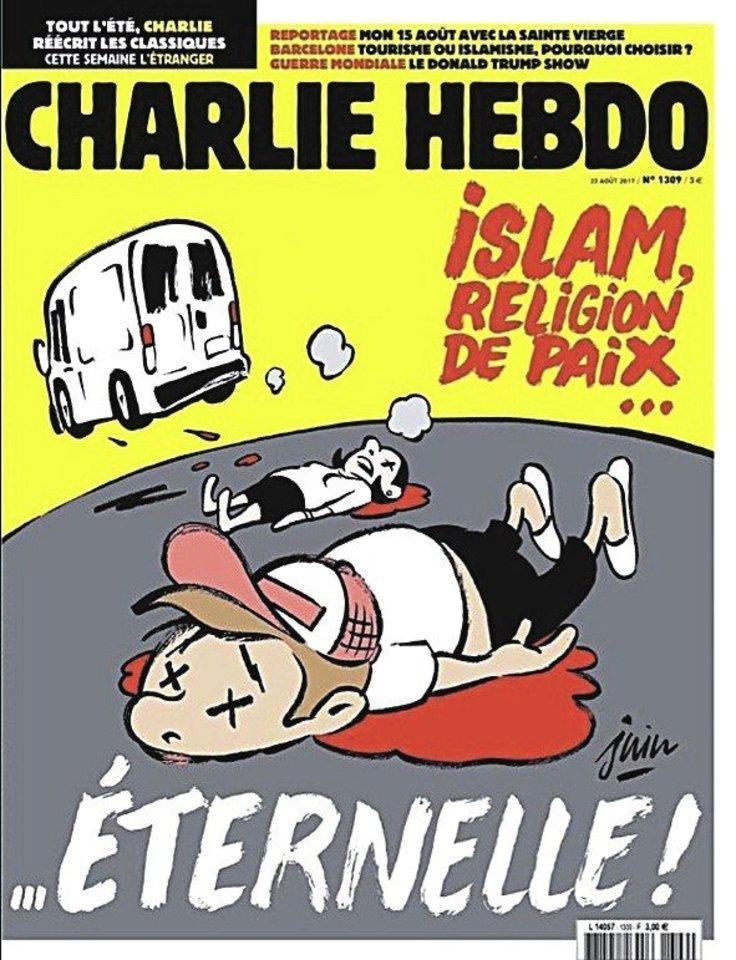 """Prancūzijos satyrinis savaitraštis """"Charlie Hebdo"""" sulaukė kritikos dėl viršelio, paskirto teroro atakai Barselonoje (nuotr.)."""