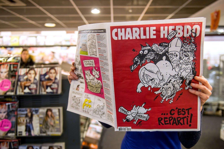 """Per islamistų išpuolį """"Charlie Hebdo"""" redakcijoje sausį buvo nušauta 12 žmonių, tarp jų – keli žinomiausi Prancūzijos karikatūristai.<br>AFP/Scanpix nuotr."""