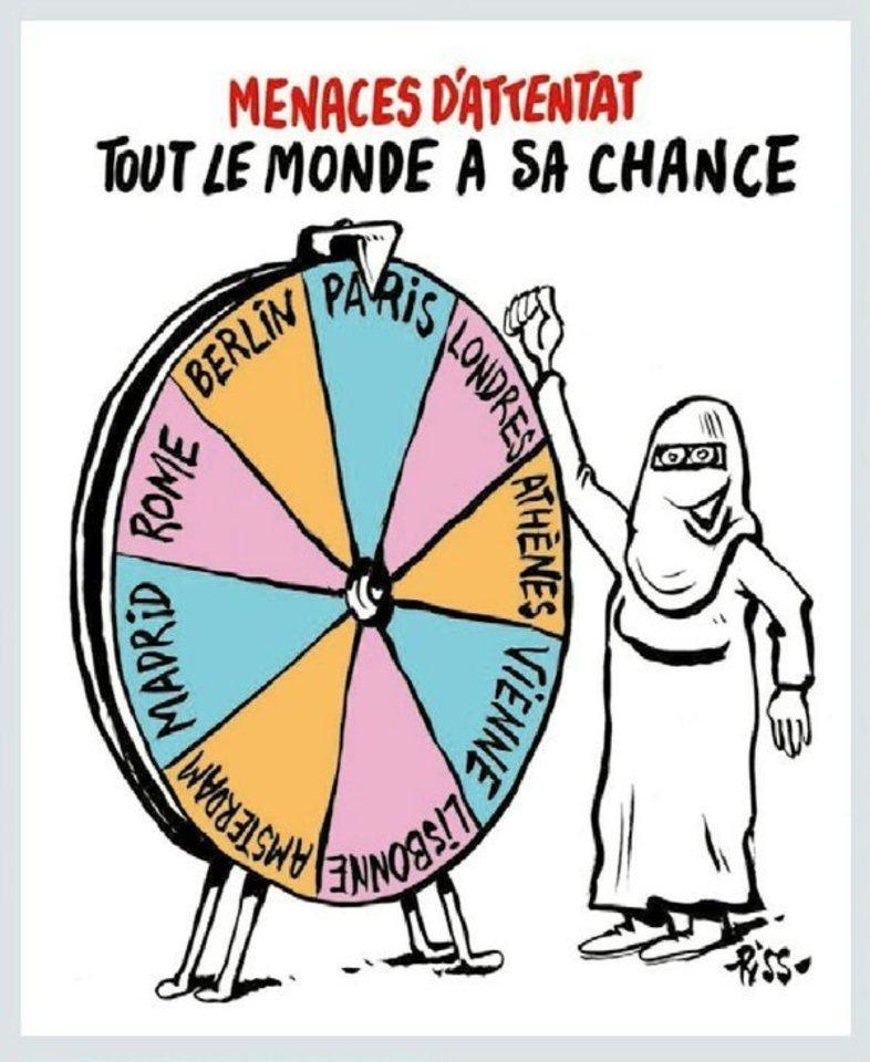 """Priešpaskutiniame """"Charlie Hebdo"""" numeryje, kuris buvo sumaketuotas dar prieš kruvinų atakų Briuselyje seriją, yra piešinys su parašu: """"Teroristinio akto grėsmė: šansą turi visas pasaulis""""."""