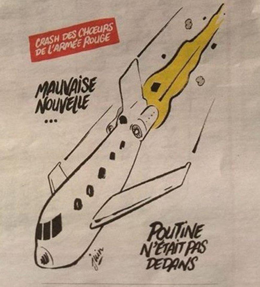 """""""Charlie Hebdo"""" nupiešė karikatūras, kuriose tyčiojamasi iš Rusijos lėktuvo katastrofos.<br>""""Twitter"""" nuotr."""